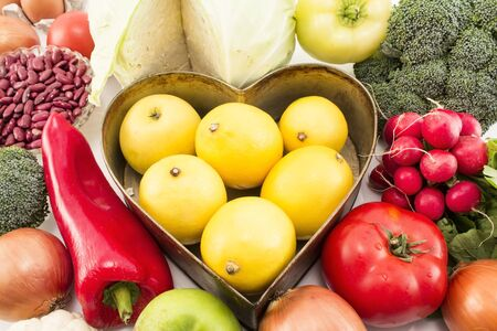 Various Healthy Food with Heart Tray.