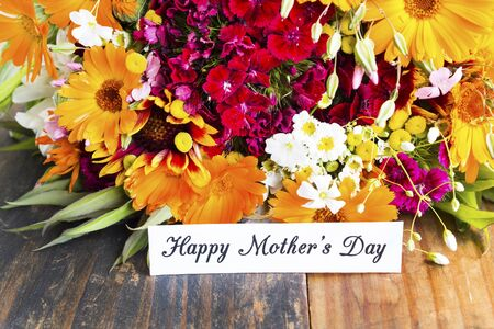 Happy Mother's Day,  Greeting Card,  with Bouquet of Spring Flowers.