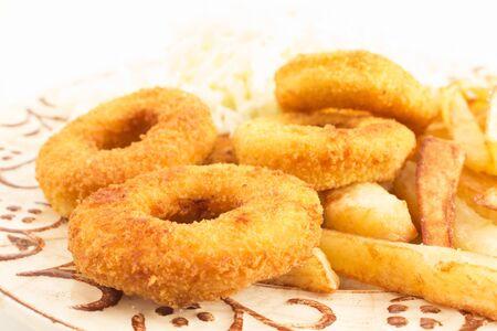 Fried Squid Rings with Fries. Standard-Bild