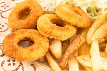 Fried Squid Rings with Fries and Cabbage Salad.