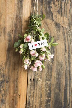 I Love You Card with a Bouquet of Roses.