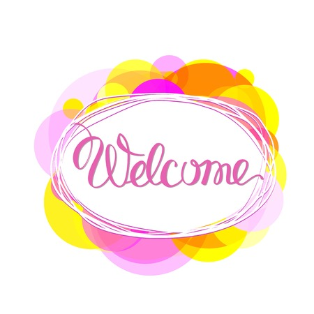 Welcome lettering vector.  Welcome in oval frame Illustration