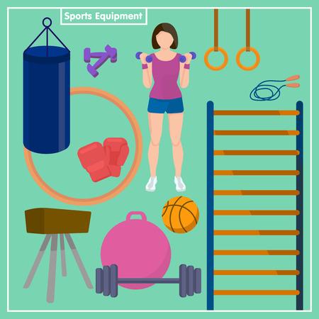 Set Sports Equipment. Flat design sport concept. Sports equipment background. Fitness and sports equipment vector illustration.