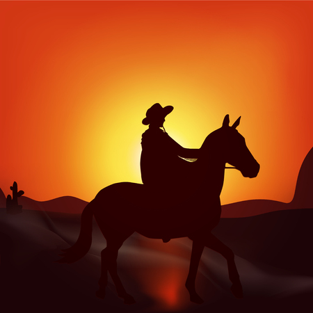 gazing: Cowboy on sunset background. Stylish vector poster wild West ,  adventure, horse riding, seclusion and loneliness, cowboy. Modern flat design. Illustration