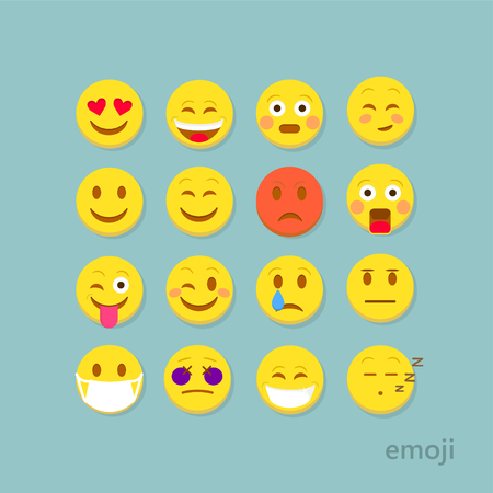 Emoticon vector illustration. Emoticon icons. Emoticon face on a white background. Emoticon smiley faces. Flat design. Emoticon isolated. Emoticon for web site, chat, sms.