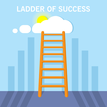 Ladder to clouds with shadow. Vector design competition concept. Ladder to the succes. Illustration