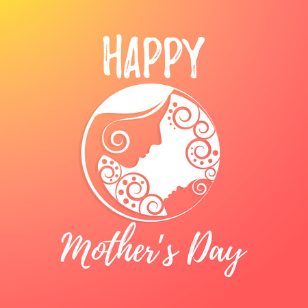 Card tamplate for happy mothers day. Mother and baby, cute background,