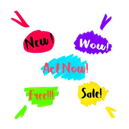 brushstroke: traces of the marker, Color spot, elements for design printing, websites, labels Illustration