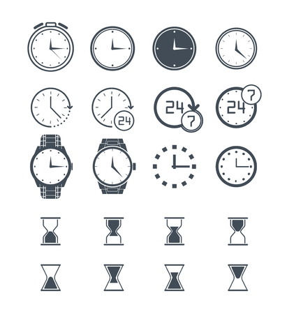 Clock icon set. Vector time icon, clock icon isolated on white. Sand clock set, 24h clock collection. Stopwatch clock icon. Flat clock icon. Wall clock icon. Wrist clock, alarm clock icon