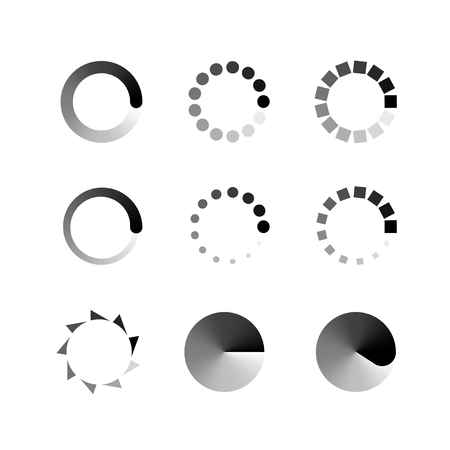 Loading icons. Collection of modern preloaders. Monochrome loading icons. Different loading icons.  Loading Icon Web