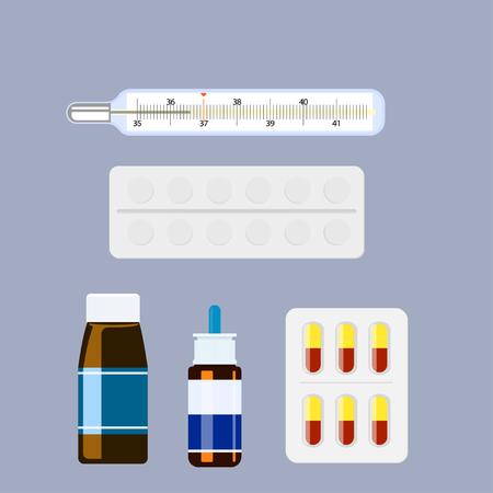 inhalation: Medicine collection set . Illustration