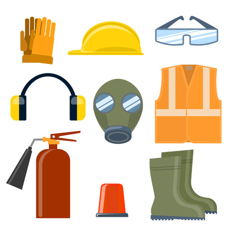 Safety work flat vector icons set. Ilustrace