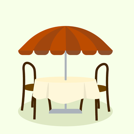 outdoor event: Umbrella and furniture isolated on background. Vector illustration Illustration