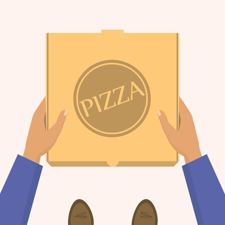 Pizza delivery service at home. Delivery men handing a box with pizza and holding a pizza bag.