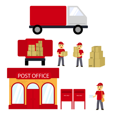 Post office, boxes, postman,Delivery truck. Delivery Concept. Vector flat. Postal service creative icon design Illustration
