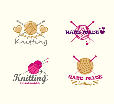 Set van breien logo elementen Logo