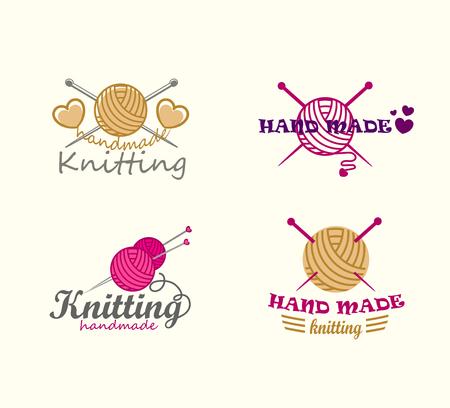 Set Of Knitting Logo Elements Illustration