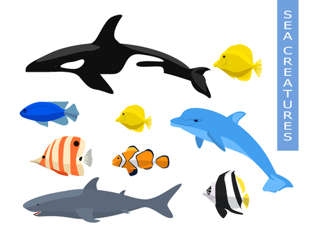 Vector set of sea creatures Illustration