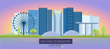 Journey to Singapore. Gorizontal banner. Night Singapore.