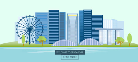 Banner horizontal of Singapore. Panoramic view of the city at day. Singapore city skyline. Vector illustration.