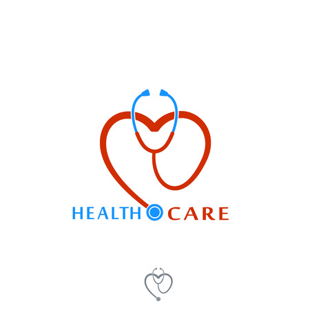Health care Icon Logo. Stethoscope with heart. Label or logo for Hospital