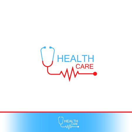 Health care Icon Logo. Stethoscope with heart cheering cardiogram. Label or logo for Hospital. Illustration
