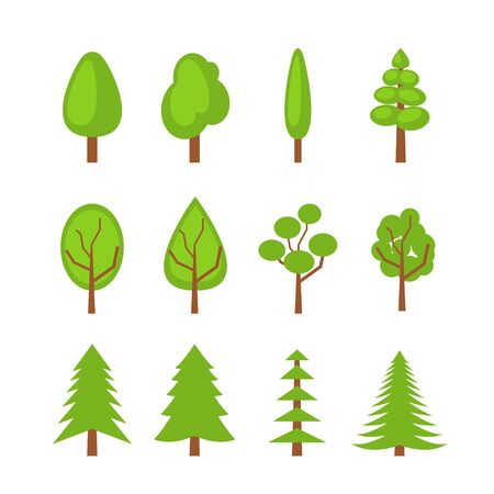 Set of trees icons. Flat illustration. Vector isolated icons for web