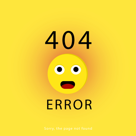 404 connection error. Yellow background with face emoticon or emoji. Sorry, page not found. Vector illustration.