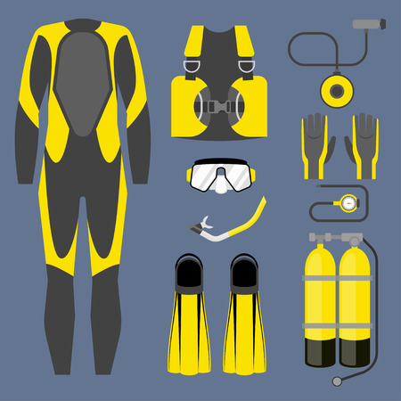 flippers: Set of diving equipment icon. Wetsuit, scuba gear and accessories Underwater activity sports item. Illustration