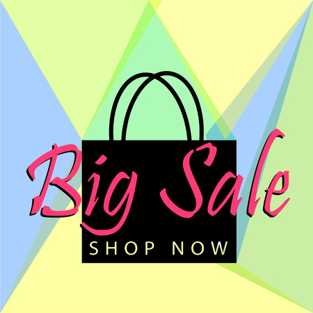 Big sale poster or banner with black bag and button shop now for web. Vector illustration tamplate Illustration