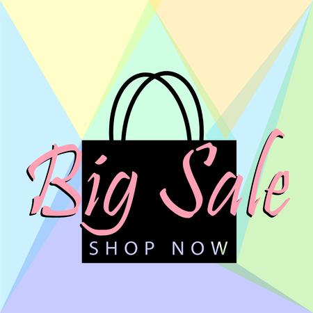 Big sale poster or banner with black bag and button shop now for web. Vector illustration design tamplate Illustration