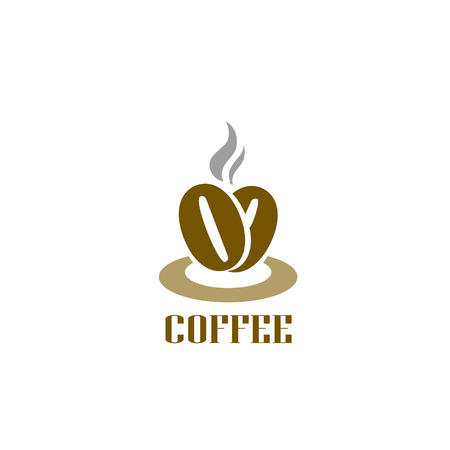 Coffee logotype. Hot coffee beans logo. Cafe food court sign symbol