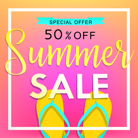 beachball: Summer sale tamplate design banner. Illustration with flip flops and beach. Vector background
