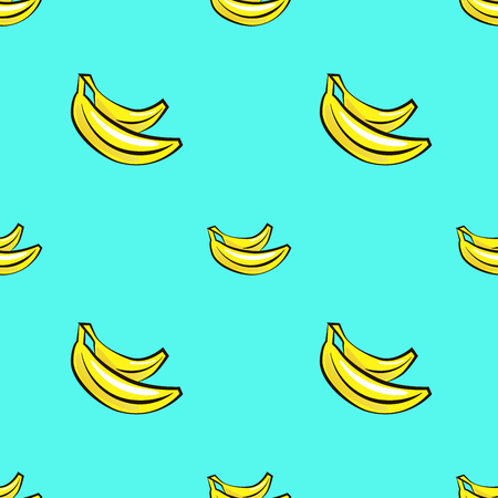 Vector seamless pattern with hand drawn bananas on a blue background. For your design Illustration