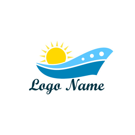 Logo isolated of travel agency. A symbol of vacation, travel and recreation in warm countries. Logo with palm trees, island, sea and sun, taking off plane