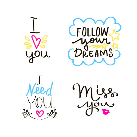 Lettering set of quotes about love. Sweet cute inspiration typography. Hand written elements.