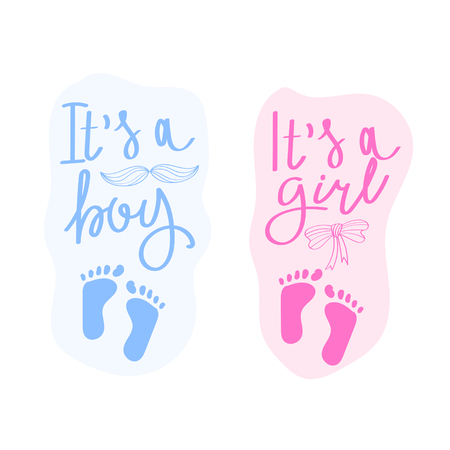 Lettering it is a boy and it is a girl. Vector greeting card for baby shower. Baby shower party design element.