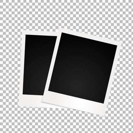 Two retro photo frames with shadow on transparent background.