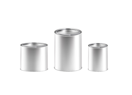 A set of Tin cans. Banks with a lid of different sizes. 3d realistic vector illustration.