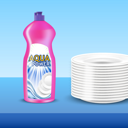 Detergent bottle mockup with a stack of white plates with glitter. 3d realistic vector illustration