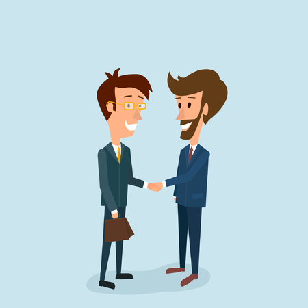 Two businessmen shake hands with each other. A good deal. Approval of the arrangement and solution of tasks in business. Partnership. Vector illustration. Ilustração