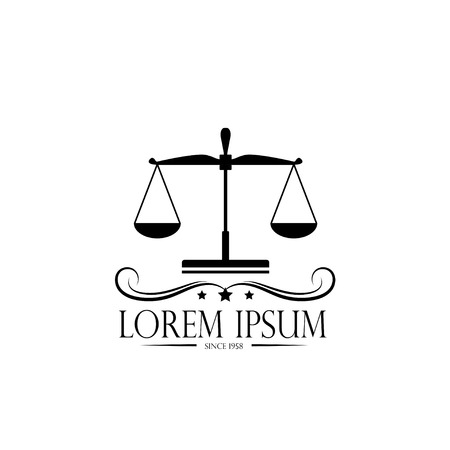 Logo scales and crown. logo of a notary, a , a symbol of justice and law Illustration
