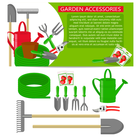 Gardening tools icons isolated on white background. Banner template with Gardening tools on green background.
