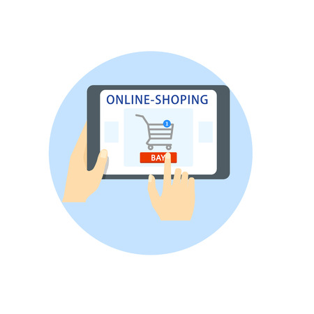 Online shopping. Hands hold a tablet, a gadget, the buyer chooses the goods online. Finger on the buy button. Vector Flat Icon.