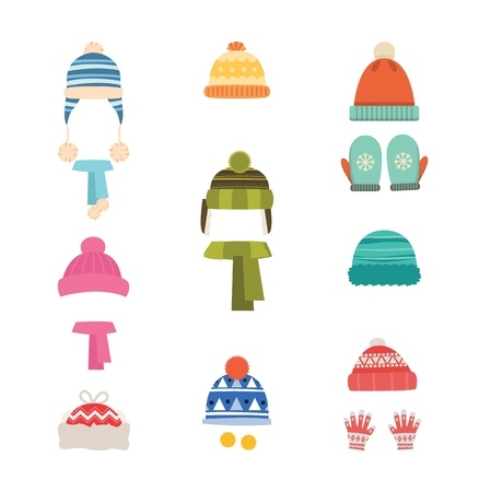 Hats winter warm. Hats with scarf and with gloves, mittens. Isolated icons on white background. Set of hats and scarves for boys and girls. Vector illustration