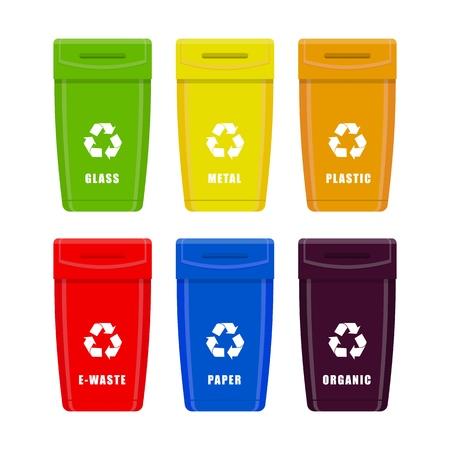 Mülleimer. Container Müll für verschiedene Arten von Müll. Vektorsatz lokalisiert auf weißem Hintergrund.