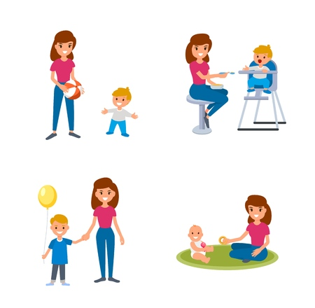 Bebisitter deals with children. The nanny feeds, walks with the child, plays with the child. A set of flat illustrations of vector babysitter and nanny with different children Vettoriali