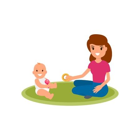 Una niñera o niñera se sienta en la alfombra y juega con el bebé. Vector ilustración plana aislada sobre fondo blanco