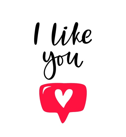 Hand drawn phrase I like you with heart button for social media, blog, vlog, web, banner, card, print. Lettering like you vector isolated on white background.  イラスト・ベクター素材