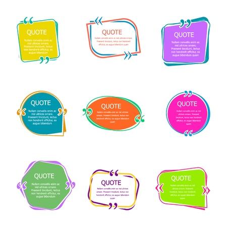 Citar cuadros con texto. Conjunto de plantillas de burbujas de citas de color. Globos de texto. Cita en iconos aislados de vector de burbuja creativa. Ilustración de vector